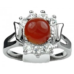 Costume Jewellery Rings UK, Fashion Girls Women Gifts, Red Agate Round Natural Stone Clear Diamante Dress Ring