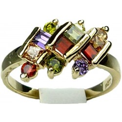 Petite Costume Gold Jewellery Rings UK, Multi Coloured Square Emerald Cut Diamante Three Diagonal Row Gold Plated Ring