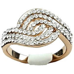 Clear Diamante Swirl Wave Costume Rose Gold Ring