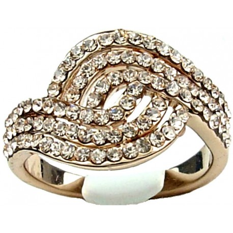 Fashion Jewellery Rings UK, Girls, Young Women Birthday Gifts, Peach Champagne Diamante Swirl Wave Costume Rose Gold Ring