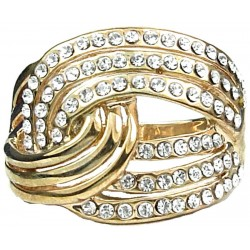Fashion Jewellery Rings UK, Girls Women Birthday Love Gifts, Clear Diamante Tie The Knot Statement Costume Gold Ring