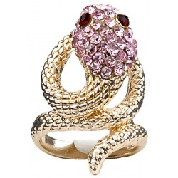 Statement Fashion Jewellery Rings UK, Cute Fun Jewelry, Girls Women Gifts, Pink Diamante Swirling Costume Gold Coiled Snake Ring