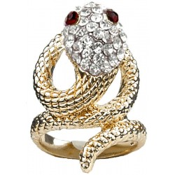 Clear Diamante Swirling Costume Gold Coiled Snake Ring