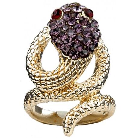 Statement Fashion Jewellery Rings UK, Cute Fun Jewelry, Girl Women Gift, Purple Diamante Swirling Costume Gold Coiled Snake Ring