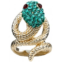 Aqua Blue Diamante Swirling Costume Gold Coiled Snake Ring