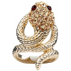 Peach Diamante Swirling Costume Gold Coiled Snake Ring