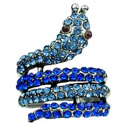Cool Costume Jewellery Rings, Cute Fun Fashion Jewelry UK, Blue Monochrome Diamante Swirling Statement Coiled Snake Ring