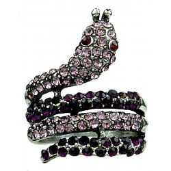 Cool Fashion Jewellery Rings, Cute Fun Costume Jewelry UK, Purple Monochrome Diamante Swirling Statement Coiled Snake Ring