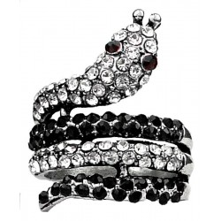 Cool Fashion Jewelry Rings UK, Cute Fun Costume Jewellery, Black White Monochrome Diamante Swirling Statement Coiled Snake Ring