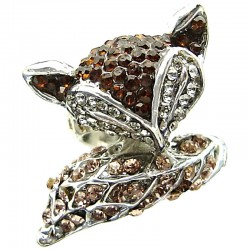 Woman Girl Gifts, Large Statement Costume Jewellery UK, Cute Animal Rings, Fashion Fun Brown Diamante Pave Fox Ring