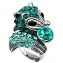 Fun Statement Aqua Blue Diamante Hedgehog Cute Animal Ring