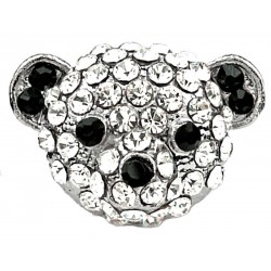 Fun Statement Costume Jewelry UK, Fashion Jewellery Rings, Girls Gifts, Clear & Black Diamante Panda Bear Head Cute Animal Ring