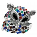 Fun Statement Multi Colour Diamante Fox Cute Animal Ring