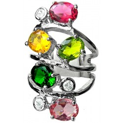 Multi Colour Oval Stone Clear Diamante Bold Statement Spiral Long Swirl Ring
