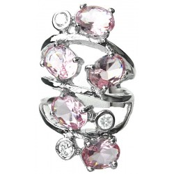 Pink Oval Stone Clear Diamante Bold Statement Spiral Long Swirl Ring