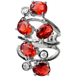 Red Oval Stone Clear Diamante Bold Statement Spiral Long Swirl Ring