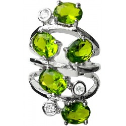 Lime Green Oval Stone Clear Diamante Bold Statement Spiral Long Swirl Ring