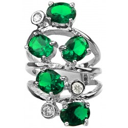 Emerald Green Oval Stone Clear Diamante Bold Statement Spiral Long Swirl Ring