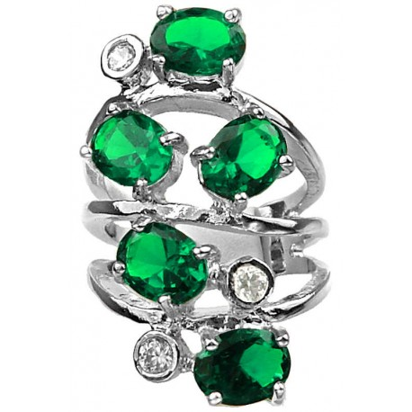Girls Woman Gifts, Costume Jewelry UK, Bold Statement Fashion Jewellery Rings Emerald Green Oval Stone Spiral Long Swirl Ring