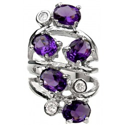 Purple Oval Stone Clear Diamante Bold Statement Spiral Long Swirl Ring