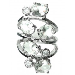 Clear Oval Stone Clear Diamante Bold Statement Spiral Long Swirl Ring