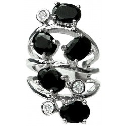Black Oval Stone Clear Diamante Bold Statement Spiral Long Swirl Ring