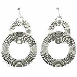 Costume Jewellery Dangle Earrings, Fashion Jewelry UK, Women Gifts, Silver Spiral Swirl Interlocking Circle Drop Earrings