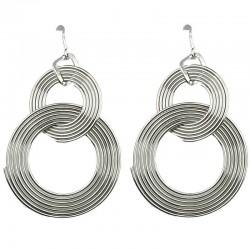 Costume Jewellery Earrings, Fashion Jewelry UK, Women Gifts, Silver Hoop Loop Linked Interlocking Circle Drop Earrings