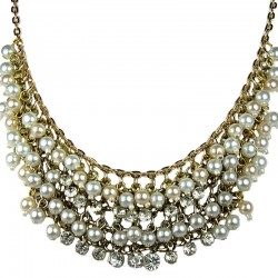 Classic Costume Jewellery, Fashion Pearl Necklaces, Women Accessories, Faux Pearl Diamante Gold Plated Statement Necklace