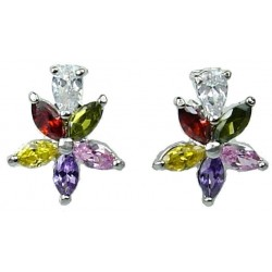 Women Fashion Earring Studs, Costume Jewellery Earrings UK, Multi Coloured Cubic Zirconia CZ Crystal Flower Dress Stud Earrings