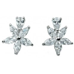 Clear Cubic Zirconia CZ Crystal Flower Dress Stud Earrings