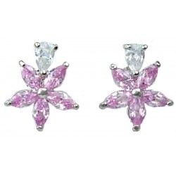 Pink Cubic Zirconia CZ Crystal Flower Dress Stud Earrings