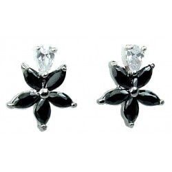 Black Cubic Zirconia CZ Crystal Flower Dress Stud Earrings
