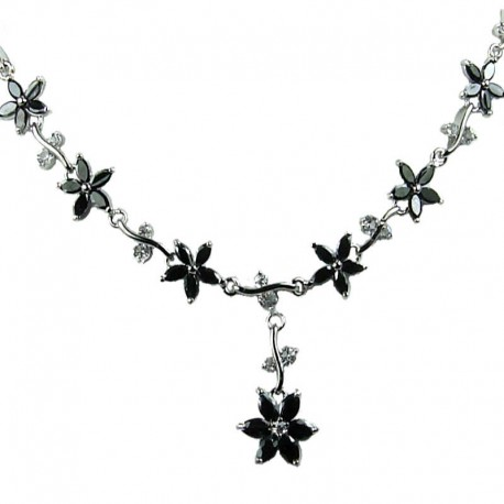 Bridal Costume Jewellery Necklaces, Fashion Jewelry UK, Wedding Gift Black Cubic Zirconia CZ Crystal Flower Dress Necklace