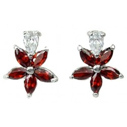 Red Cubic Zirconia CZ Crystal Flower Dress Stud Earrings