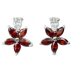 Costume Jewellery Earring Studs, Fashion Jewelry UK, Women Girls Gifts, Red Cubic Zirconia CZ Crystal Flower Dress Stud Earrings