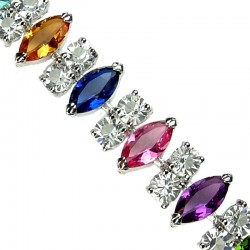 Fashion Bridal Jewellery, Costume Bracelets, Multi Coloured Marquise Teardrop Rhinestone Clear Diamante Dressy Bracelet