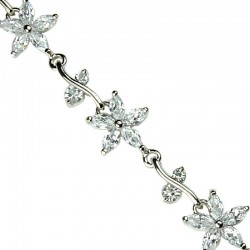 Wedding Costume Jewellery, Fashion Bridal Jewelry Bracelets UK, Clear Cubic Zirconia CZ Crystal Flower Tennis Bracelet