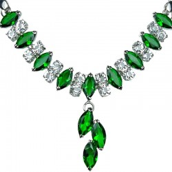 Costume Jewellery Necklaces, Fashion Wedding Gift; Emerald Green Teardrop Rhinestone Clear Diamante Dress Necklace