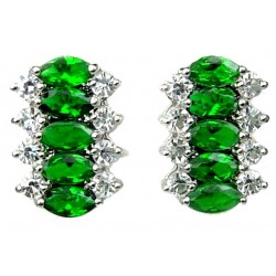 Emerald Green Marquise Teardrop Rhinestone Clear Diamante Dress Drop Earrings