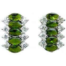 Olive Green Marquise Teardrop Rhinestone Clear Diamante Dress Drop Earrings