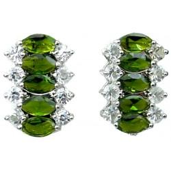 Fashion Jewellery Dangle Earrings, Women Costume Jewelry UK, Olive Green Teardrop Rhinestone Clear Diamante Dress Drop Earrings