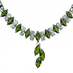 Fashion Jewellery Costume Necklace, Women Gifts, Olive Green Teardrop Rhinestone Clear Diamante Dress Necklace