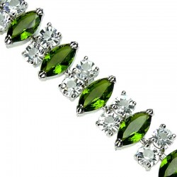 Fashion Wedding Jewellery, Bridal Jewelry UK, Olive Green Teardrop Rhinestone Clear Diamante Dressy Costume Bracelet