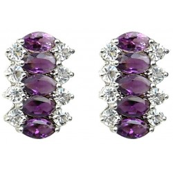 Purple Marquise Teardrop Rhinestone Clear Diamante Dress Drop Earrings