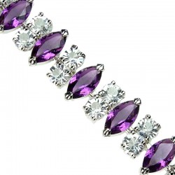 Bridal Fashion Jewellery, Costume Jewelry Bracelets UK, Purple Marquise Teardrop Rhinestone Clear Diamante Dress Bracelet