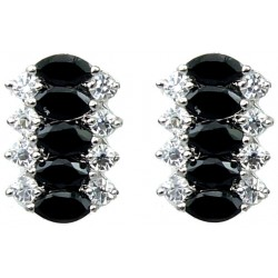 Black Marquise Teardrop Rhinestone Clear Diamante Dress Drop Earrings