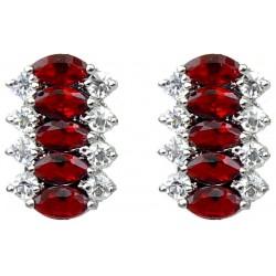 Modern Costume Jewellery UK, Fashion Jewelry Bridal Earrings, Red Marquise Teardrop Rhinestone Clear Diamante Drop Earrings