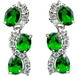 Emerald Green Oval Rhinestone Clear Diamante Dress Drop Earrings