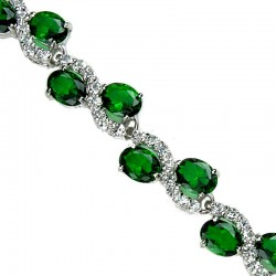 Emerald Green Oval Rhinestone Clear Diamante Dress Tennis Bracelet